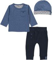 Dirkje Basics Jongens Set(3delig) Blauw Shirt en Broek Donkerblauw met Mutsje - Maat 56