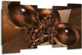 Canvas schilderij Abstract | Bruin, Goud | 150x80cm 5Luik