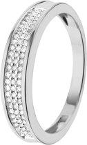 Lucardi 14 Karaat Witgouden Ring - Met Diamant - Maat 55
