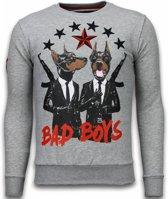 Local Fanatic Bad Boys - Rhinestone Sweater - Grijs - Maten: M