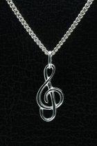 Zilveren Muzieksleutel ketting hanger - middel