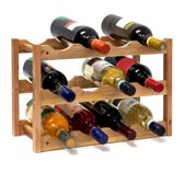 relaxdays wijnrek - walnoot hout - 12 flessen