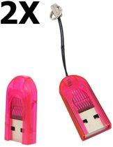 2 Stuks Micro SD MMC SDHC TF T-flash USB-geheugenkaartlezer / -schrijver