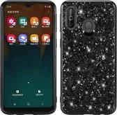 Let op type!! Glittery poeder schokbestendig TPU Case voor Galaxy A40 (zwart)