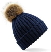 Winter muts met pompon navy