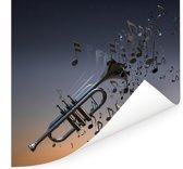 Mooie trompet blaast muzieknoten Poster 75x75 cm - Foto print op Poster (wanddecoratie woonkamer / slaapkamer)