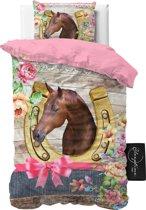 Sleeptime Kids Lovely Horse - Dekbedovertrek - Eenpersoons - 140x200cm - Roze