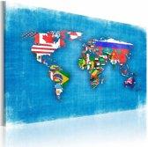Schilderij - Vlaggen van de Wereld, Multi-gekleurd, 2 Maten, 1Luik