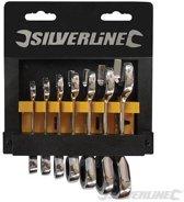 Silverline 7-delige korte steek-ringratelsleutel set 8 - 19 mm