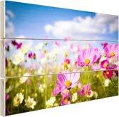 Bloemen in volle bloei Hout 80x60 cm - Foto print op Hout (Wanddecoratie)