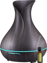 O'dor® Aroma Cool Mist Diffuser - 400 ml - Met Etherische Olie - Donkerbruin