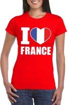 Rood I love Frankrijk fan shirt dames 2XL