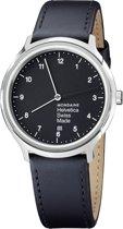 Mondaine Regular MH1.R2220.LB  Horloge - Leer - Zwart - Ø40 mm