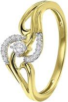 Lucardi - Diamond Luxury - 14 Karaat geelgouden ring met diamant