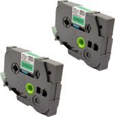 KATRIZ® huismerk label tape voor Brother TZe-731| GL-100/PT-1100CH/PT-1700/PT-H100/PT-D200 | Zwart op Groen | 12mm*8m | 2 stuks