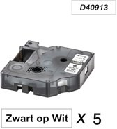 5 x Dymo 40913 Zwart op Wit Standaard Label Tapes Compatible voor Dymo 2000 3500 5500 Label Manager 100 110 120P 150 160 200 210D 220P 260D 280 300 350 360D 400 450 450D / 9mm x 7m