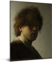 Zelfportret van Rembrandt - Schilderij van Rembrandt van Rijn Aluminium 30x40 cm - klein - Foto print op Aluminium (metaal wanddecoratie)