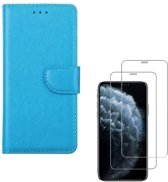 iPhone X / XS - Bookcase turquoise - portemonee hoesje + 2X Tempered Glass Screenprotector