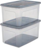 IRIS Clearbox Opbergbox - 50 l - Kunststof - Transparant/grijs - 2 stuks