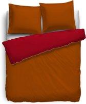 HnL Royal Cotton Perkal Uni Dekbedovertrek - Tweepersoons - 200x200/220 cm - Terra/Aurora Red