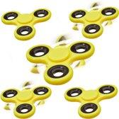 relaxdays 5 x Fidget Spinner - tri-spinner 58g - hand spinner - anti-stress speelgoed geel