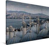 Uitzicht over Istanbul in Turkije Canvas 60x40 cm - Foto print op Canvas schilderij (Wanddecoratie woonkamer / slaapkamer)