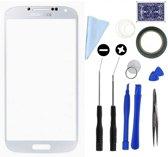 Display/scherm/touchscreen glas geschikt voor Samsung Galaxy S4 MINI i9195 Wit + professionele complete toolkit/gereedschap en handleiding reparatie