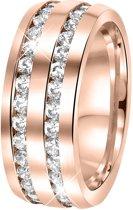 Lucardi - Stalen ring roseplated 2rijen met zirkonia