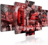 Schilderij - Londen collage, Rood, 2 Maten, 5luik