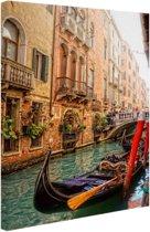 Kanaal Venetie Canvas 80x120 cm - Foto print op Canvas schilderij (Wanddecoratie woonkamer / slaapkamer) / Steden Canvas Schilderijen