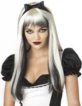 Witte en zwarte pruik met lange haren voor volwassenen - Verkleedpruik