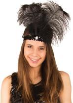 Charleston hoofdband zwart met veren| Charleston |Zwarte veer| carnaval | Chique Chique | Bling Bling