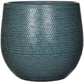 Mica Decorations - gabriel ronde pot blauw - maat in cm: 25 x 29