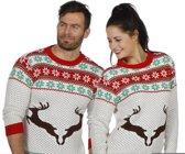 Kerst & Oud & Nieuw Kostuum | Kersttrui Wit Met Rendieren | Large | Carnaval kostuum | Verkleedkleding
