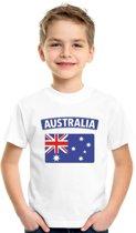 Australie t-shirt met Australische vlag wit kinderen M (134-140)