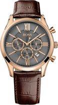 Hugo Boss HB1513198 Horloge - Leer - Bruin - 43 mm