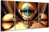 Glasschilderij Abstract   Goud, Blauw, Geel   160x80cm 4Luik   Foto print op Glas    F002421