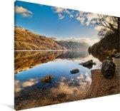 Uitzicht over Loch Lomond in Schotland Canvas 140x90 cm - Foto print op Canvas schilderij (Wanddecoratie woonkamer / slaapkamer)
