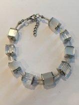 Petra's Sieradenwereld - Armband blokjes en buisjes wit