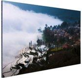 Rijstvelden in de mist China Aluminium 90x60 cm - Foto print op Aluminium (metaal wanddecoratie)