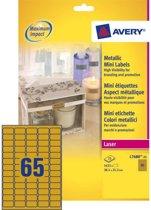 Huismerk Avery L7680-25 Gekleurde Etiket 38.1x21.2mm Goud