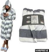 Sorprese - Luxe badjas - maat L/XL - Extra zachte badstof - MICRO FLEECE - badjas - bad jas - ochtendjas- Design A