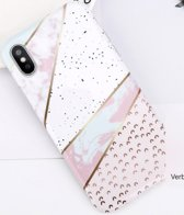 Luxe marmer case voor Apple iPhone X - iPhone XS hoesje - wit - roze - groen - back cover - soft TPU zacht