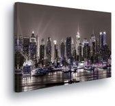 City New York Night Canvas Print 100cm x 75cm