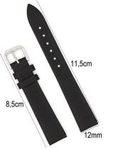 Horlogeband Leer - 12mm - Met Gladde Oppervlak + Push Pin - Kalfsleer - Zwart - Sarzor