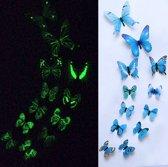 3-D vlinderstickers / glow in the dark blauw
