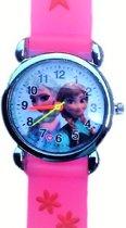 Frozen - Horloge- Hard roze- Siliconen- 25 mm- GRATIS Batterij- Charme Bijoux®