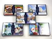 50 stuks: Luxe Kerstkaart en Nieuwjaarskaart met envelop | 15x10.5cm | 5 pakjes | Serie Blauw - C