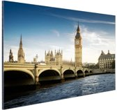 Big Ben vanaf de Thames Aluminium 120x80 cm - Foto print op Aluminium (metaal wanddecoratie)