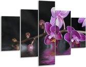 Glasschilderij Orchidee | Paars, Zwart, Wit | 100x70cm 5Luik | Foto print op Glas |  F001232